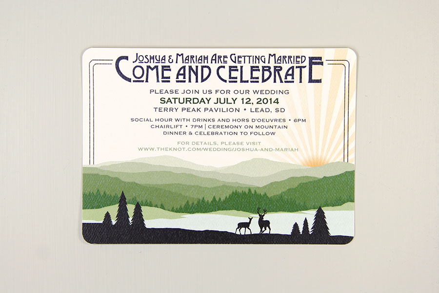 bc4634e7efde34 Green Appalachian Mountain 5×7 Traditional Wedding Invitation – Rustic